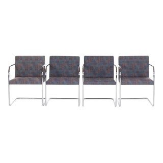 Late 20th Century Vintage Mies Van Der Rohe Style Chrome Cantilever Armchairs - Set of 4 For Sale