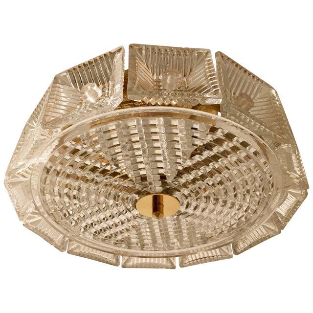 Orrefors Swedish Crystal 1950s Flush Ceiling Hanging Amid Century Pendant For Sale - Image 9 of 9