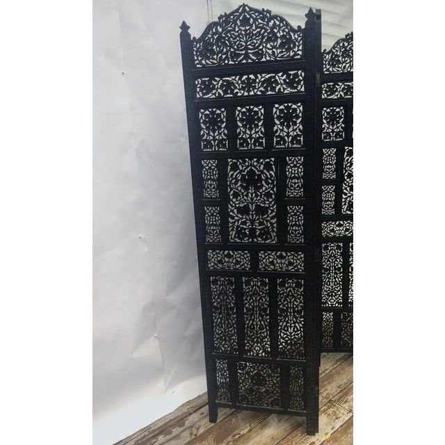 4-Panel East Indian Hand Carved Wood Screen Divider For Sale - Image 4 of 13