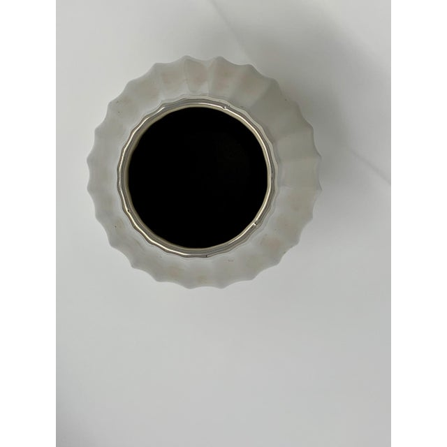 Ceramic Jonathan Adler Platinum Metallic Belly Vase For Sale - Image 7 of 8