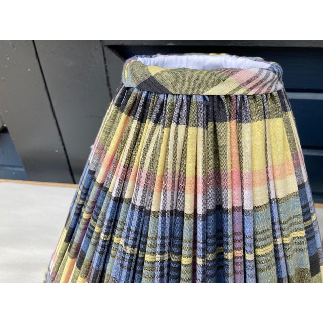 English Madras Plaid Shirred Lampshades - a Pair For Sale - Image 3 of 4