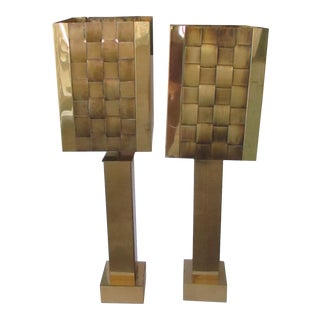 Mid-Century Modern Curtis Jere Signed Brass Lamps With Basketweave Shades - a Pair For Sale