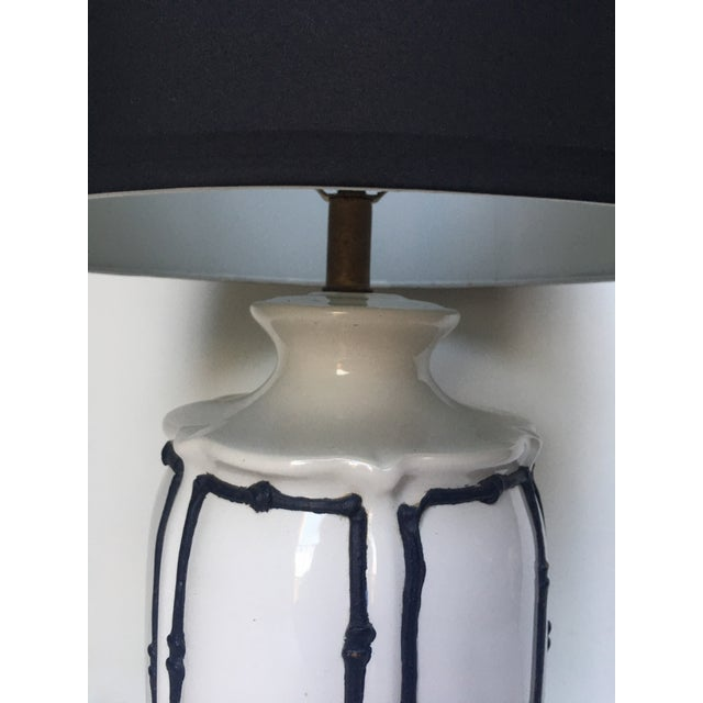 Asian Navy Blue & White Icing Bamboo Lamp For Sale - Image 3 of 5