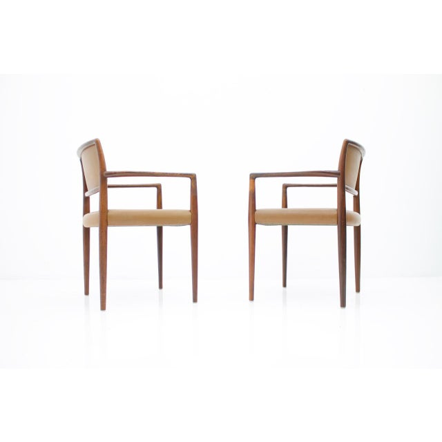 Brown Scandinavian Armchairs in Rosewood and Brown Leather 1960s For Sale - Image 8 of 9