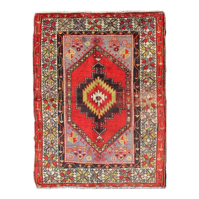 Keivan Woven Arts, L11-1001,, 1920s Antique Turkish Oushak Rug - 3′7″ × 4′10″ For Sale