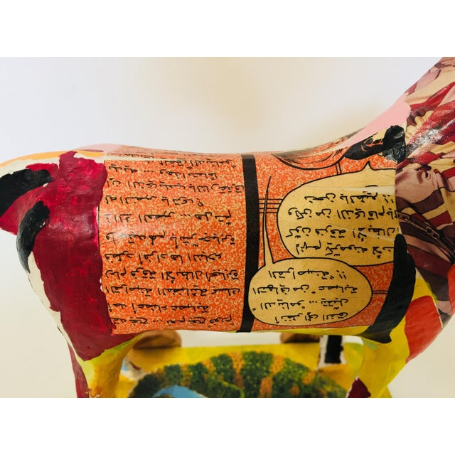 Papier Mâché Sculpture of a Horse in Polychrome Arabic Writing For Sale - Image 10 of 12