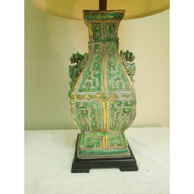 Green Ceramic Vintage Chinoiserie Designer Lamps - a Pair For Sale - Image 8 of 11