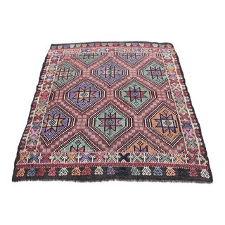 1960s Vintage Turkish Multi-Color Kilim Rug - 4′1″ × 4′6″ For Sale
