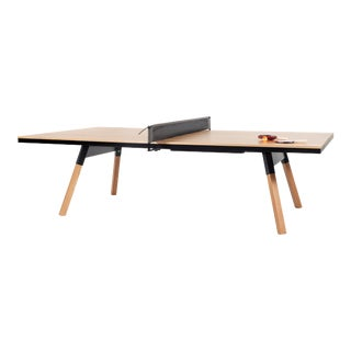 RS Barcelona You and Me Indoor Ping Pong Table, Oak and Black For Sale
