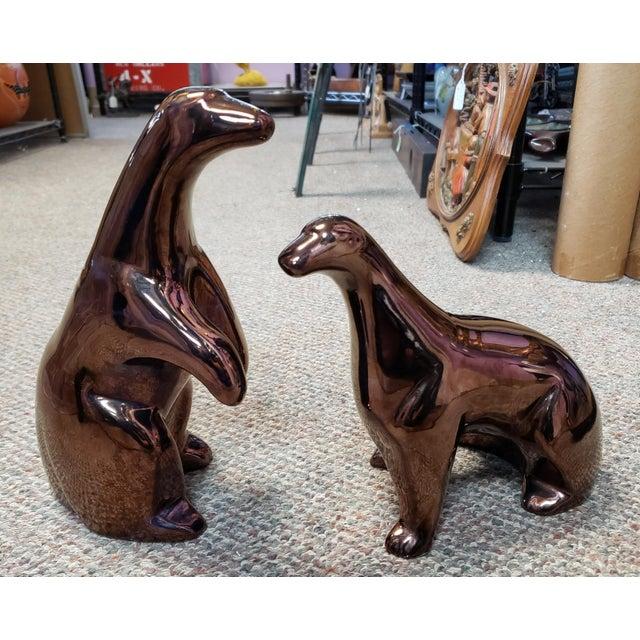 Ceramic 1970's Mid Century Modern Jaru Pottery of California Bronze Tone Ceramic Polar Bear Sculptures - a Pair For Sale - Image 7 of 7