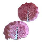 Image of 1980s Bordallo Pinheiro Pink Cabbage Serving Plates - a Pair For Sale
