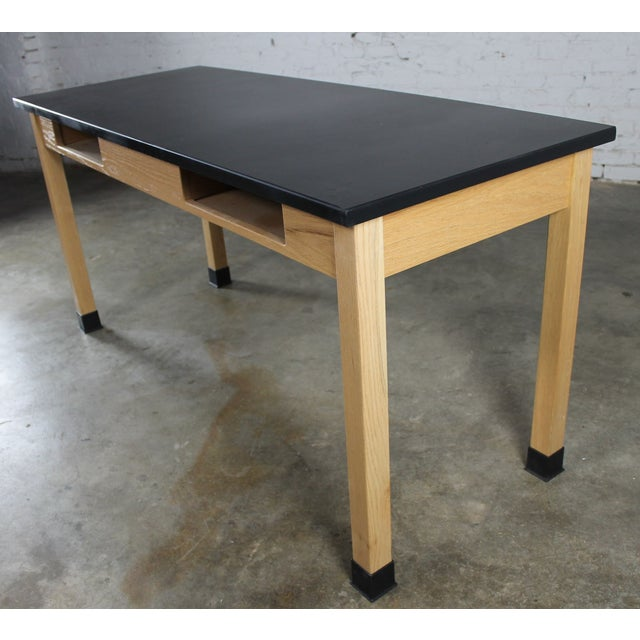 Industrial Laboratory Table, Oak With Black Epoxy For Sale - Image 11 of 12