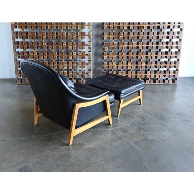 1950s Edward Wormley for Dunbar Leather Lounge Chair and Ottoman Circa 1957 For Sale - Image 5 of 13