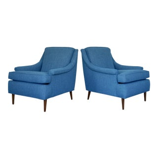 Mid-Century Modern Reupholstered Lounge Chairs - a Pair For Sale