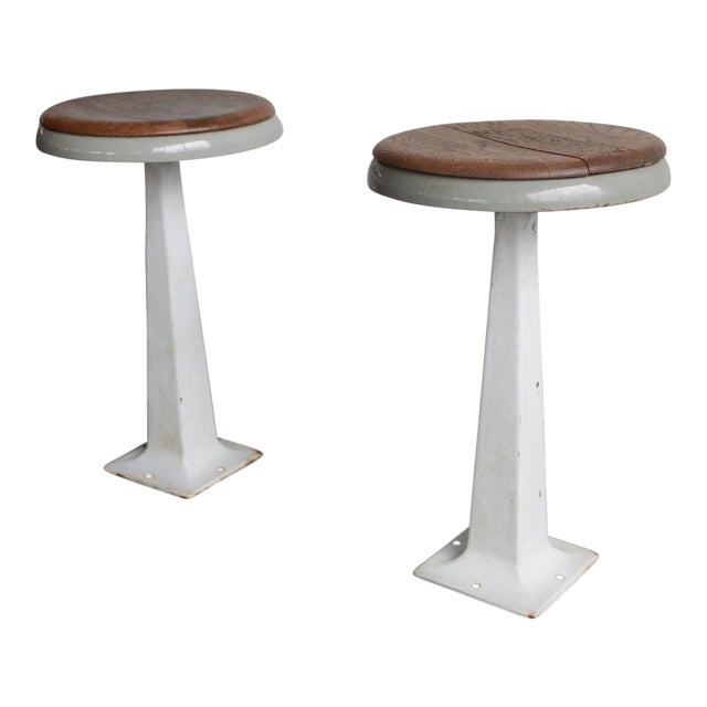 White Industrial Stools - a Pair For Sale