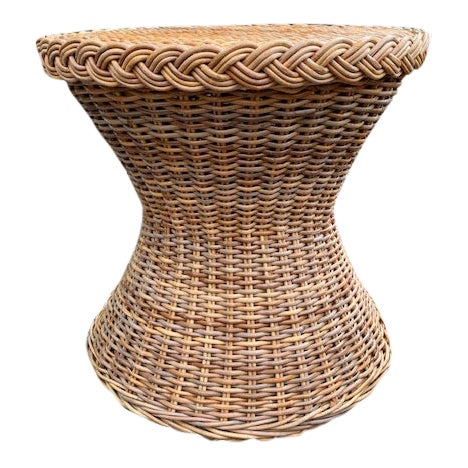 1980s Country Hourglass Shape Wicker/Rattan Side Table For Sale
