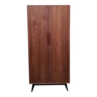 Mid-Century Modern Sleek Walnut Tall Armoire Closet For Sale