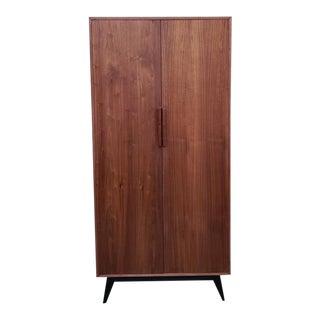 Mid-Century Modern Sleek Walnut Tall Armoire Closet For Sale