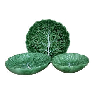 Portuguese Majolica Lettuce Bowls Bordallo Pinheiro C. Rainha - Set of 3 For Sale