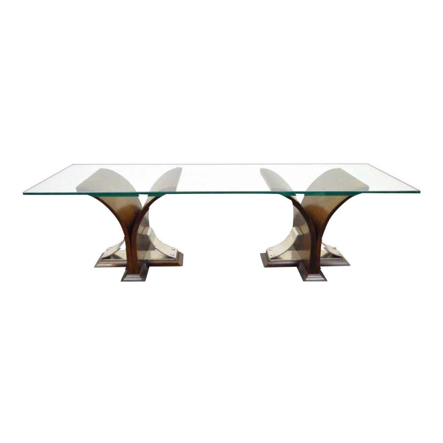 Vintage Mid Century Modern Sculptural Walnut Chrome Glass Coffee Table