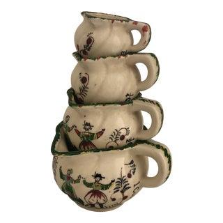 Vintage Dutch Folk Art Hand Painted Ceramic Measuring Cups - Set of 4 For Sale