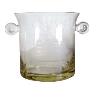 Vintage Etched Glass Clipper Ship Ice Bucket For Sale