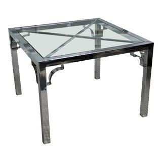 1980s Modern Chrome & Glass Coffee Table For Sale