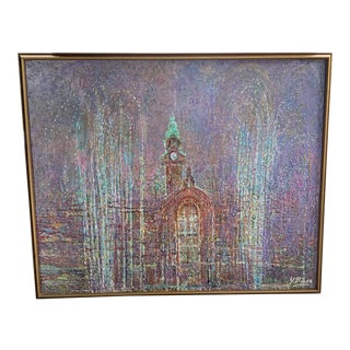 Vintage Abstract Textured Framed Oil Painting For Sale