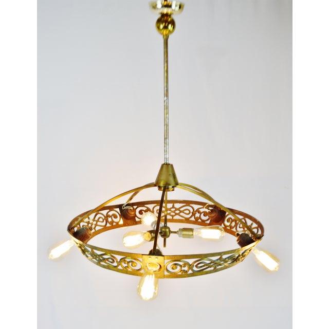 Art Deco Brass 8 Light Chandelier - Image 2 of 11