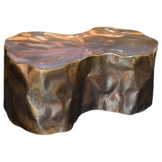 """Brass """"Rock Design"""" Coffee Table With Resin Top For Sale"""