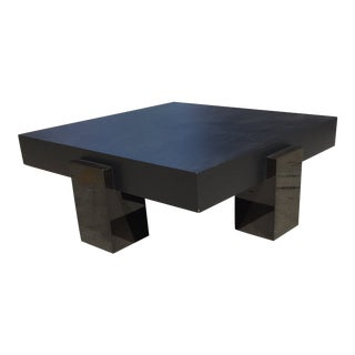 Modern Black Cubic Metal Coffee Table