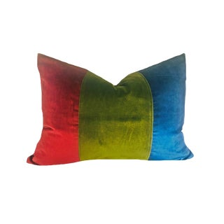 Contemporary Red, Green and Blue Color Block Down Pillow For Sale