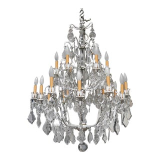 Unique Crystal Chandelier on a White Painted Frame For Sale