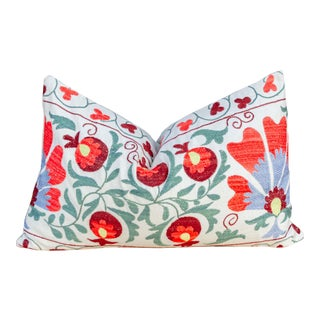 Iris Coral Floral Suzani Pillow For Sale