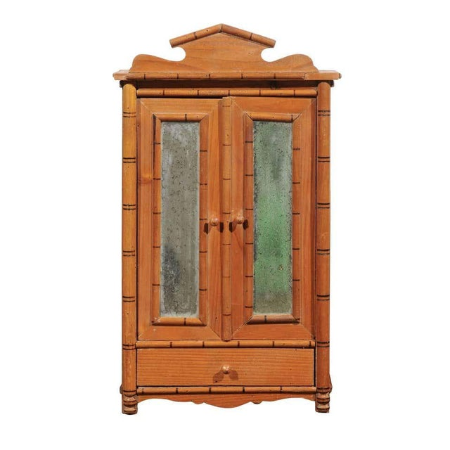 Antique French Miniature Pine Armoire For Sale - Image 10 of 10