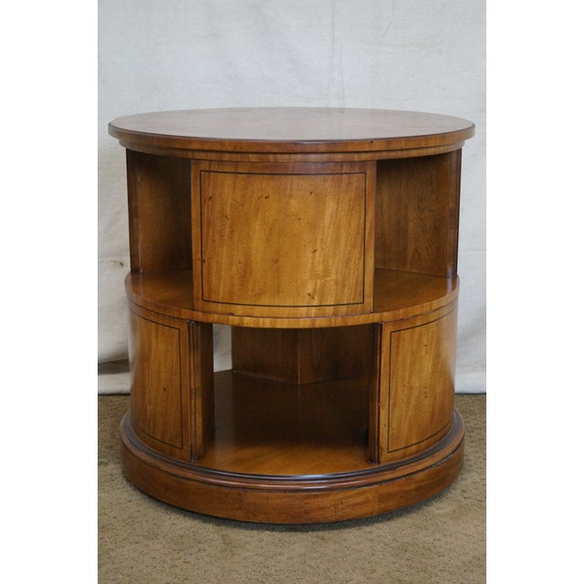Henredon Vintage Round Revolving Bookcase Side Table Image 2 Of 9