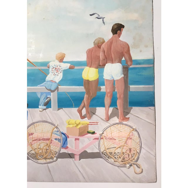 "Mid-Century Mary M. Kennedy ""Muscle Beach"" Painting - Image 6 of 8"