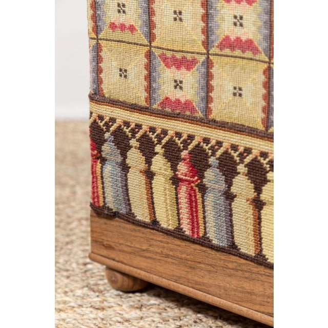 Textile Vintage Needlepoint Foot Stool For Sale - Image 7 of 8