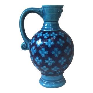19th Century Blue Quatrefoil Majolica Pitcher For Sale