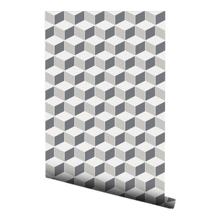 Contemporary Gray Hexagon Pre-Pasted Wallpaper - 2 Piece Set For Sale