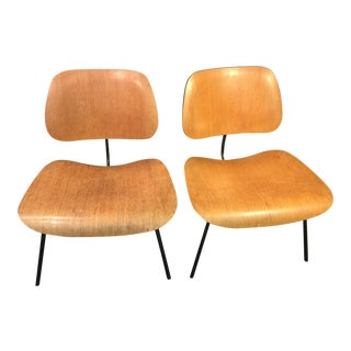 Eames Birch & Blackened Iron Lounge Chairs - A Pair