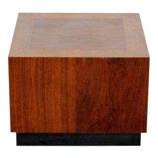 Mid Century Modern Baughman Walnut Wood Plinth Base End Table Pedestal 1960s For Sale