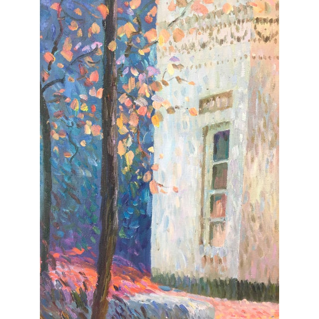 Contemporary Vintage Impressionism House in Fall Scene Painting For Sale - Image 3 of 5