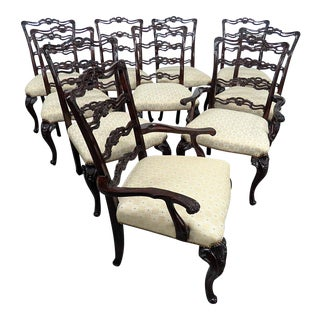 Vintage Mid Century Georgian Style Ladderback Dining Chairs- Set of 10 For Sale