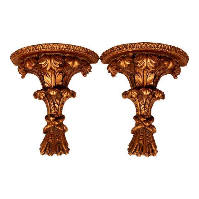 1960s Hollywood Regency Italian Golden Wheat Wall Shelves - a Pair For Sale