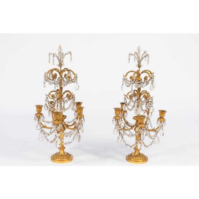 Pair of 19th century French doré bronze and rock crystal girandoles. Very finely chased. Beads are also rock crystal....