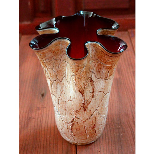 Late 20th Century 20th Century Arts and Crafts Scalloped Art Glass Vase For Sale - Image 5 of 5