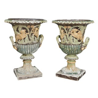 Pair of European Carved and Painted Wood Campagna Form Urns For Sale