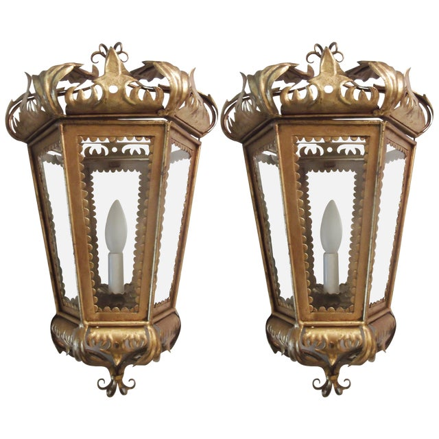 Italian Hollywood Regency Gilt Toleware Sconces - a Pair For Sale