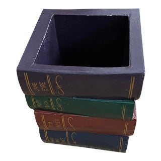 Hand Painted Papier Mache Stacked Books Wastebasket For Sale